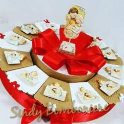 torta bomboniera battesimo cresima confetti+bigliettino offerta stock
