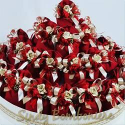 BOMBONIERE matrimonio laurea battesimo nascita SACCHETTINO in iuta rosso nastri fiori