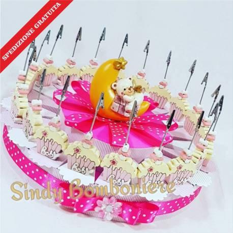 TORTA BOMBONIERE cupcake clip orsetto bimba 20 FETTE spedizione inclusa battesimo nascita