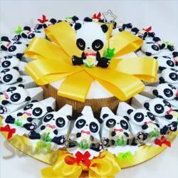 Bomboniere a forma di torta con animaletti panda magnete nascita battesimo comunione cresima
