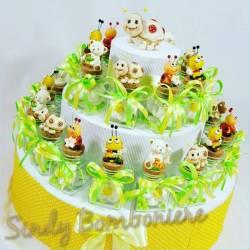 Torta bomboniera battesimo nascita VASETTI con animaletti coccinella ape marshmallow spedizione inclusa 1 compleanno