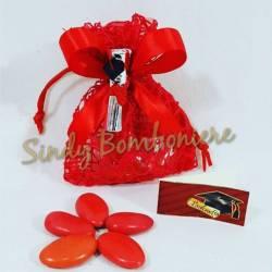 BOMBONIERA per laurea sacchettino con pergamena tocco argentata confetti + bigliettino