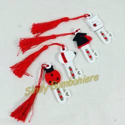 Bomboniera laurea modello chiave in 4 varianti con oggetti universitari e nappina rossa