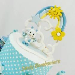TORTA Bomboniere battesimo nascita bimbo con barattoli portaconfetti