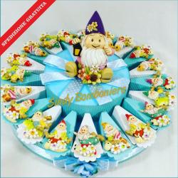 GNOMI CALAMITE su torta bomboniera porta confetti per battesimo nascita compleanno spedizione gratuita