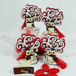 bomboniere per laurea gufo magnete albero della vita con confetti rossi