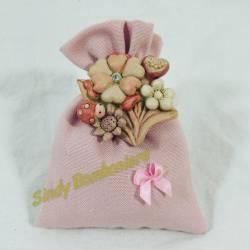 Sacchetto portaconfetti con applicazione con fiori in resina bambina