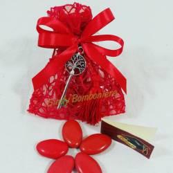 Bomboniera laurea porta confetti sacchetti in rete rosso con chiave albero della vita portachiavi