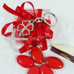 Bomboniera laurea porta confetti scatolina pexiglass con quadrifoglio e nappina per il FAI DA TE