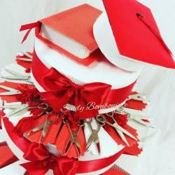 Bomboniera laurea forbici con nappina rossa torta bomboniera