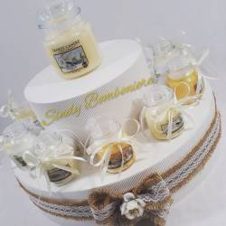 Torta porta bomboniere candele barattoli in vetro Yankee Candle