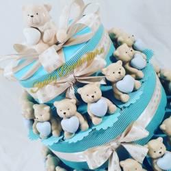 TORTA BOMBONIERA BIMBO orsetto con cuore maschietto 1 compleanno battesimo nascita