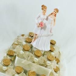 Torta bomboniere matrimonio donne omosessuali lesbiche vasetto confetti + bigliettino