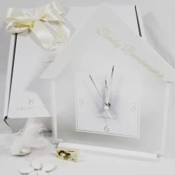 Bomboniera matrimonio CARLO PIGNATELLI orologio casa in vetro e legno LINEA ODILLA