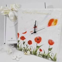 Orologio in avoriolina dipinta a mano con tulipani LINEA STEFANIA
