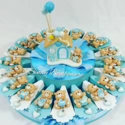 Bomboniere torta per battesimo nascita primo compleanno orsetto culla bimbo maschietto
