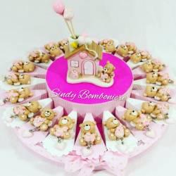Idea torta bomboniera nascita battesomo 1° compleanno CASETTA profumatore + orsetto ciondolo cuore BIMBA femminuccia