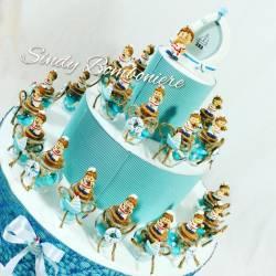 Torta bomboniera nascita battesimo struttura con vasetti marinario confetti + bigliettino adesivi stile mare