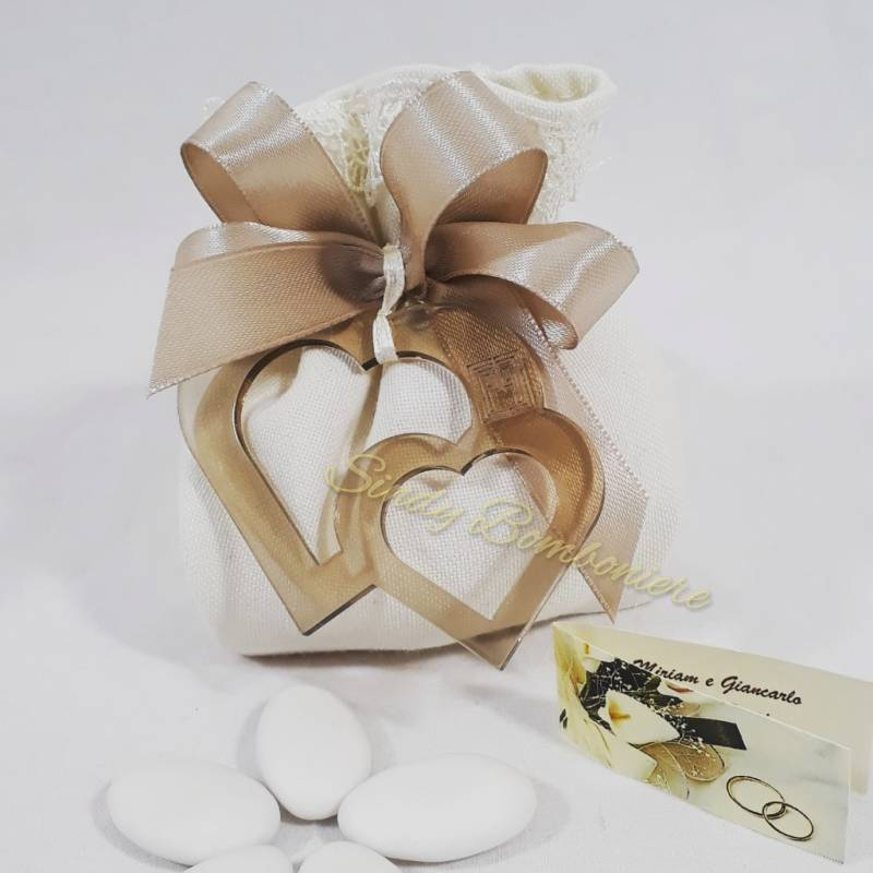 Sacchetto portaconfetti con doppio cuore in plexiglas LINEA TABATA