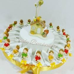 Torta bomboniera per nascita battesimo comunione con angioletto assortito casetta per bimbo bimba
