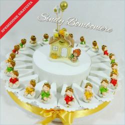 Torta bomboniera compleanno nascita battesimo con ANGIOLETTO e casetta profumatore spedizione inclusa