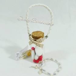 Cresima bomboniera per bimbo bimba boccetta a borsa + bracciale a rosario