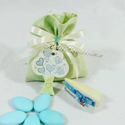 Bomboniere sacchetto cresima nascita battesimo primo compleanno albero della vita bimbo maschietto pendaglio