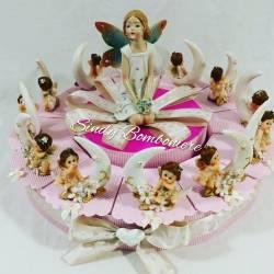 Idea originale bomboniera per battesimo nascita BIMBA angioletto con luna FATINA primo compleanno