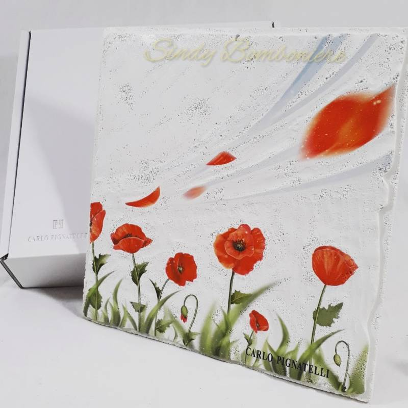 Quadro con papaveri rossi in avoriolina dipinto CARLO PIGNATELLI ...