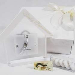 Orologio in vetro opaco bianco a forma di casa CARLO PIGNATELLI LINEA ODILLA