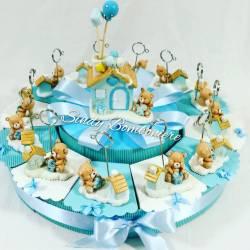 Idea originale bomboniera nascita battesimo con ORSETTO clip porta messaggio + casetta BIMBO compleanno