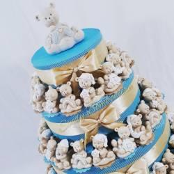 Torta bomboniera orsetti sole e luna effetto porcellana battesimo nascita bimbo