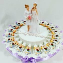 Idea bomboniere torta matrimonio lesbiche donne spose anniversario nozze magnete