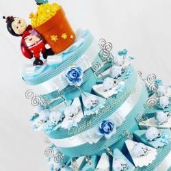 TORTA BOMBONIERA coccinella clip celeste per nascita battesimo 1 anno diciottesimo compleanno comunione cresima bimbo