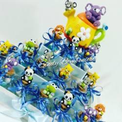 Torta bomboniera per battesimo nascita 1° compleanno vasetti + animaletti  peluche secchietto bimbo