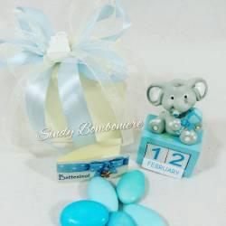 Idea bomboniera originale per battesimo nascita BIMBO CALENDARIO giorno mese con elefantino