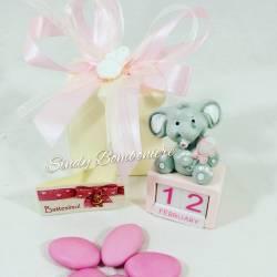 Idea bomboniere originali per compleanno nascita BIMBa femminuccia CALENDARIO giorno mese con elefantino