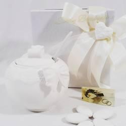 Bomboniera utile zuccheriera in porcellana fiocco MORENA