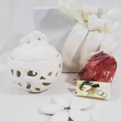 Porta potpourri in porcellana con fiori e strass MORENA