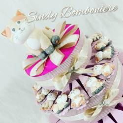 Torta bomboniera nascita battesimo bimba GATTO gattino magnete assortito colorati primo compleanno