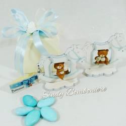 Originale bomboniere per battesimo nascita primo compleanno BIMBO con orsetto su cavalluccio in legno azzurro