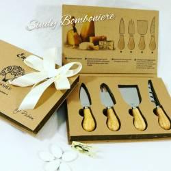 Idea bomboniera matrimonio anniversario nozze set per formaggio coltello spatola