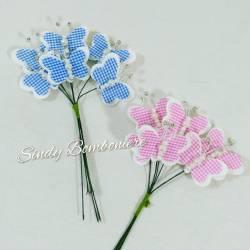 6pz bomboniere segnaposto bastoncini con farfalla bimbo bimba nascita battesimo compleanno rosa azzurra