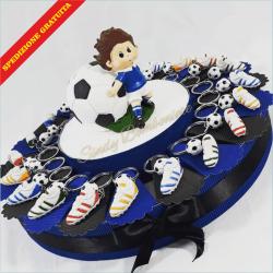 Torta squadra del cuore MILAN JUVE INTER ROMA con scarpette portachiavi con pallone e centrale salvadanaio