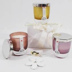 Candele con fragranze assortite in bicchiere con tappo CUORE MATTO