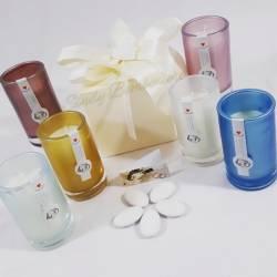 Candele profumate in bicchieri di vetro colorati IDEA REGALO SOLIDALI CUORE MATTO