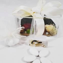 Scatola in pexiglass con fiori stabilizzati con rosa IDEA REGALO SOLIDALI CUORE MATTO LINEA CUOR DI ROSA