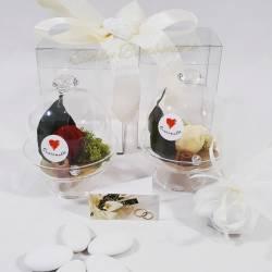 Alziera in vetro con fiori stabilizzati idea bomboniera matrimonio anniversario CUOREMATTO LINEA CUOR DI ROSA