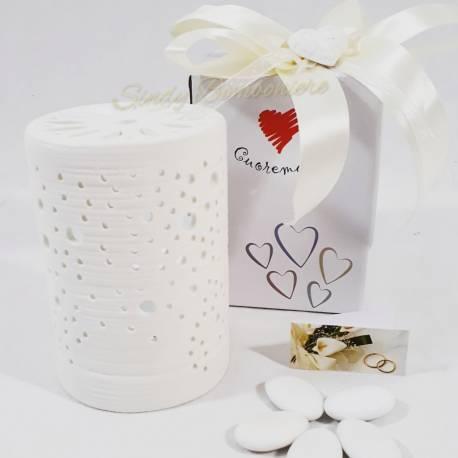 Bomboniera utile in ceramica lampada a led sferica con cuoricini CUORE MATTO LINEA SIMPLY WHITE