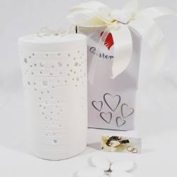 Lampada cilindrica in ceramica bianca con traforo bomboniera matrimonio anniversario CUORE MATTO LINEA SIMPLY WHITE